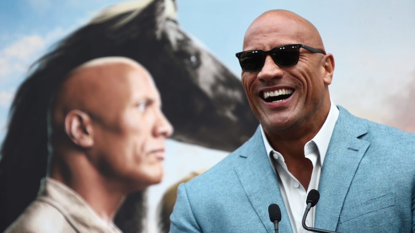 Dwayne Johnson speaks during a Hand and Footprint ceremony