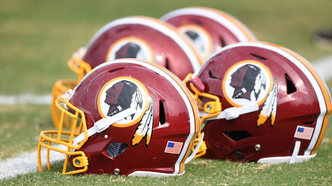 Redskins helmets lined up at training camp.