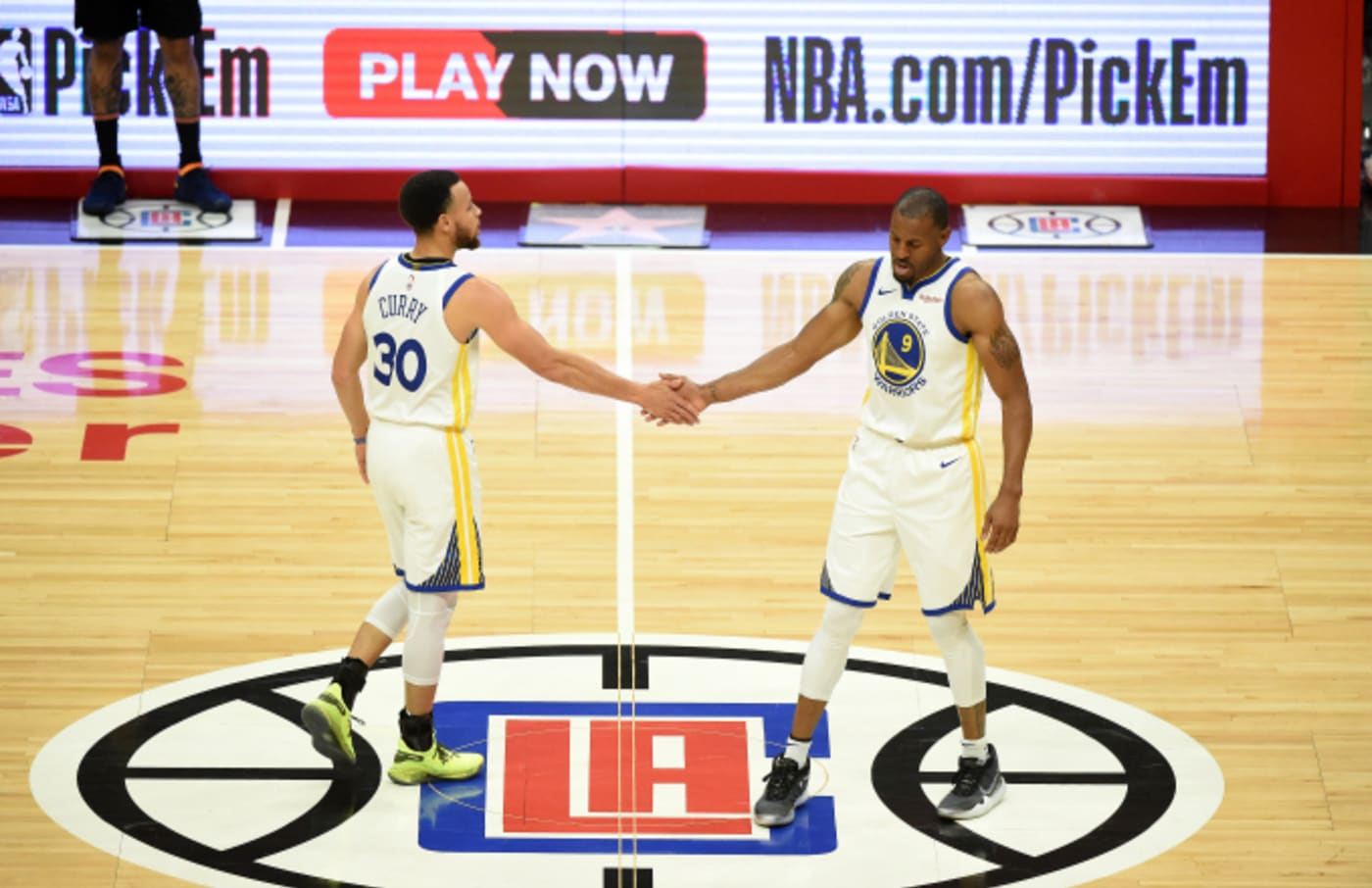 Stephen Curry #30 and Andre Iguodala #9