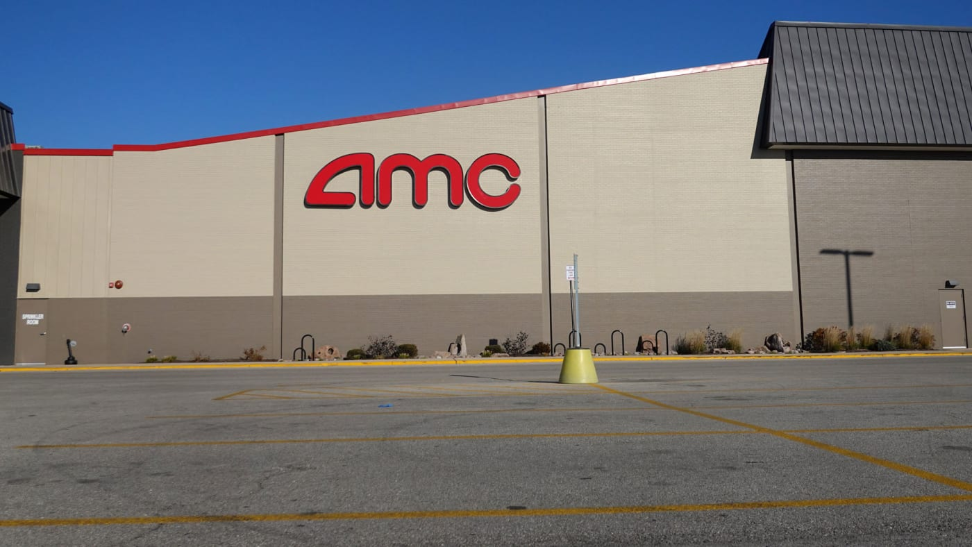An empty AMC Theatre parking lot in Harwood Heights, Illinois.