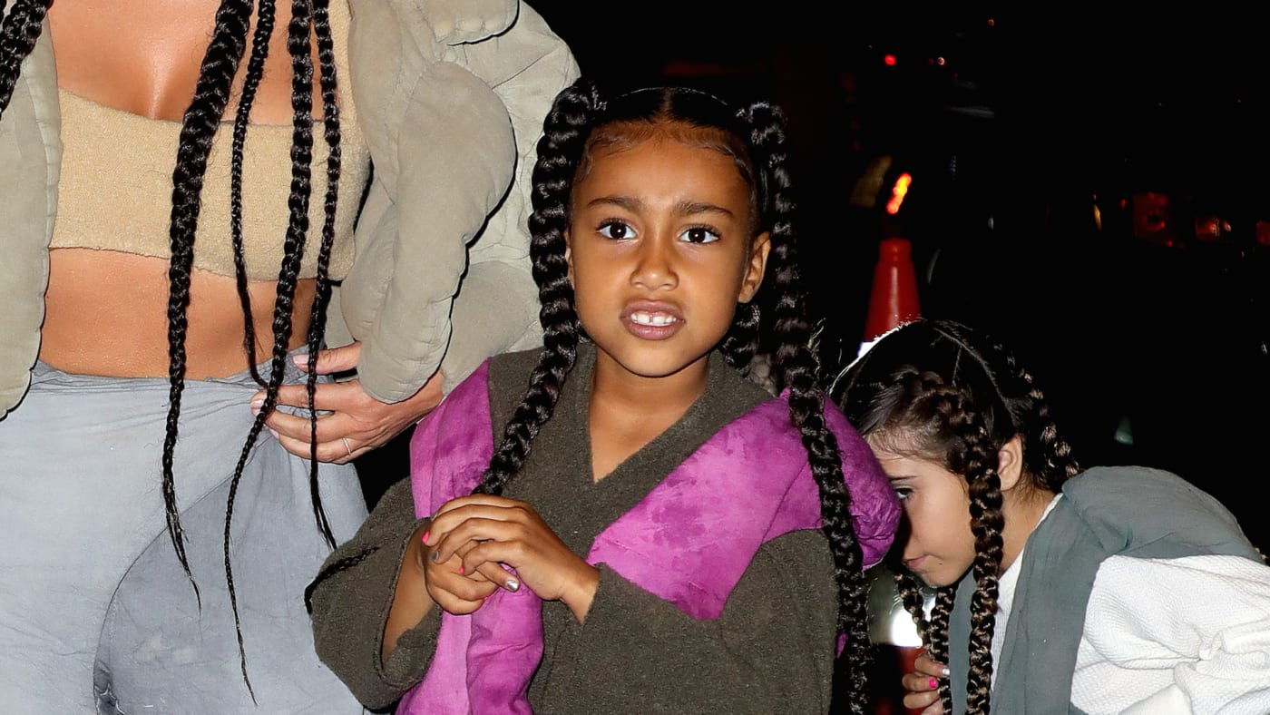 Kim Kardashian West and North West are seen arriving at a restaurant