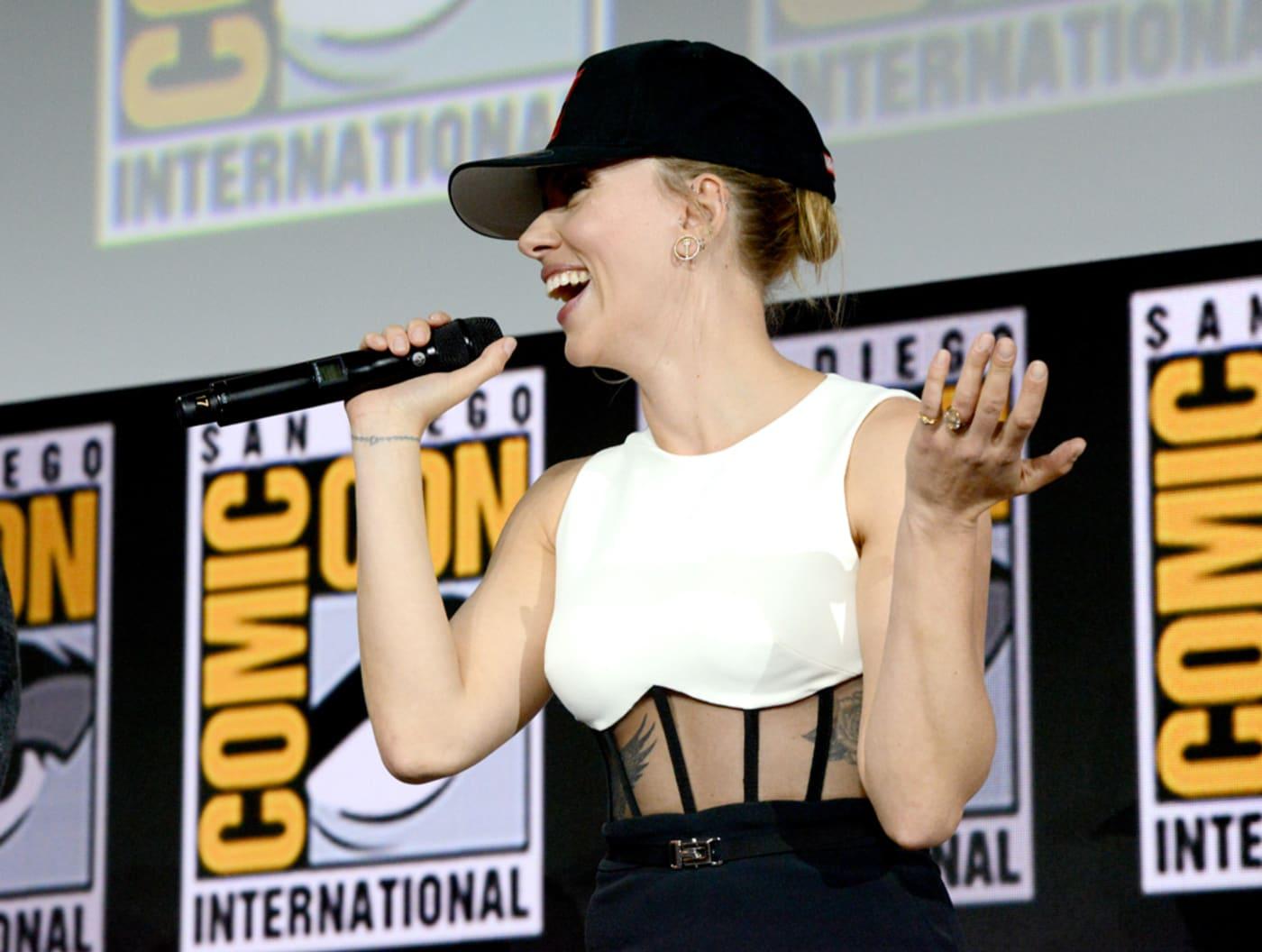 Scarlett Johansson speaks at the Marvel Studios Panel