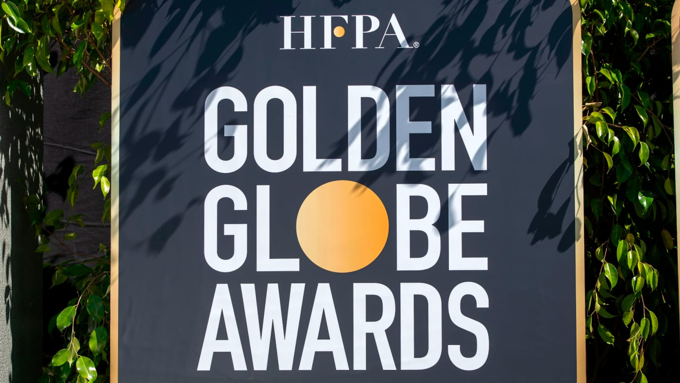 View of the HFPA Golden Globe Awards logo.