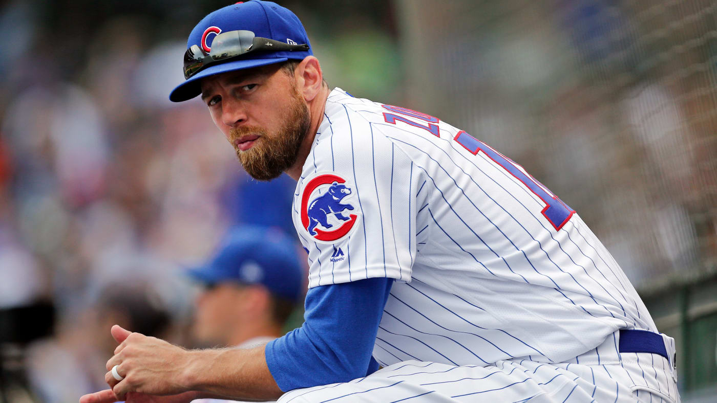 Ben Zobrist sits in the dugout during the game against the Milwaukee Brewers.