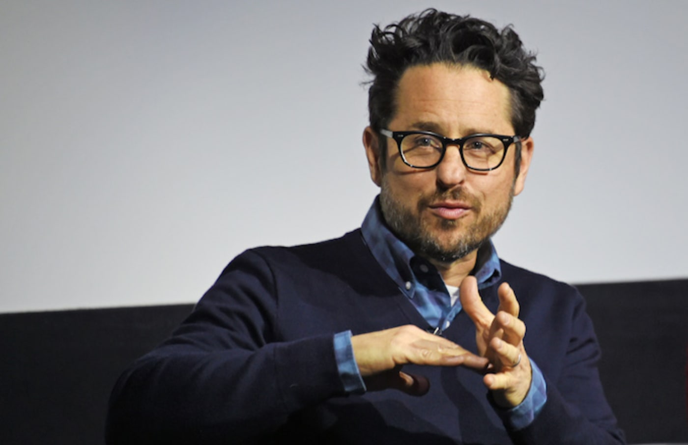 J.J. Abrams speaks on stage at a fan screening of 'The Cloverfield Paradox.'