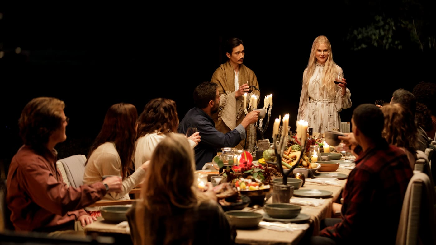 The cast of Nine Perfect Strangers eating dinner