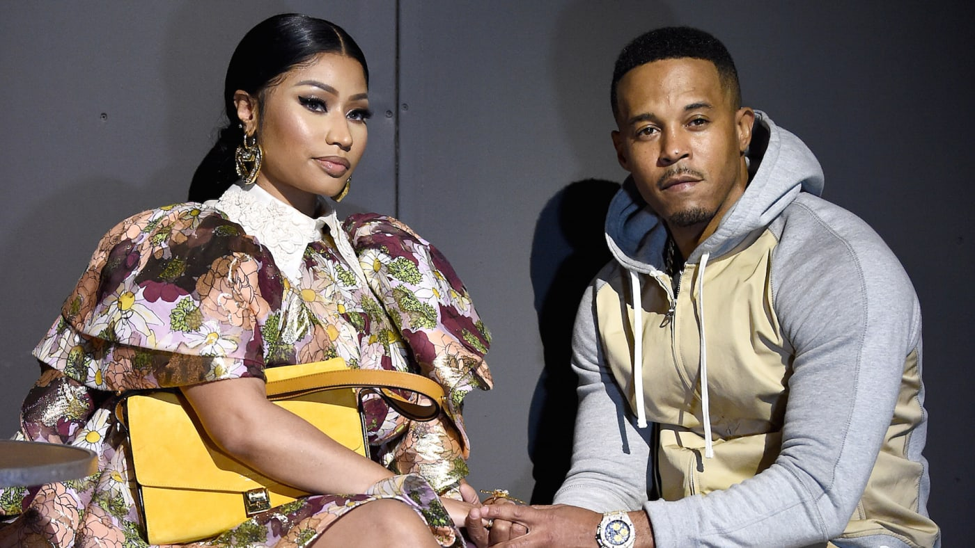 Nicki Minaj and Kenneth Petty attend the Marc Jacobs Fall 2020 runway show