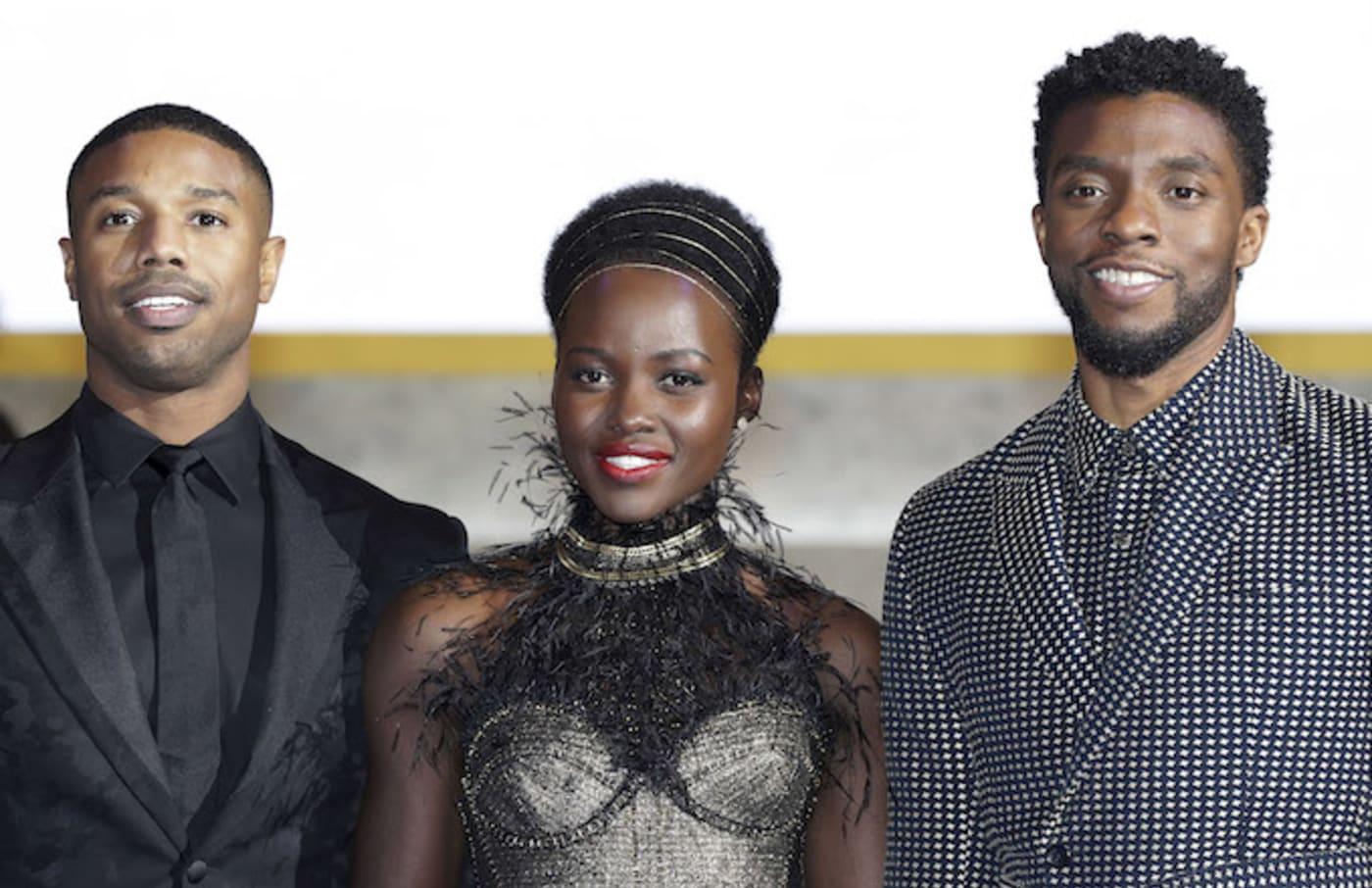 Michael B. Jordan, Lupita Nyong'o, and Chadwick Boseman at a 'Black Panther' premiere.
