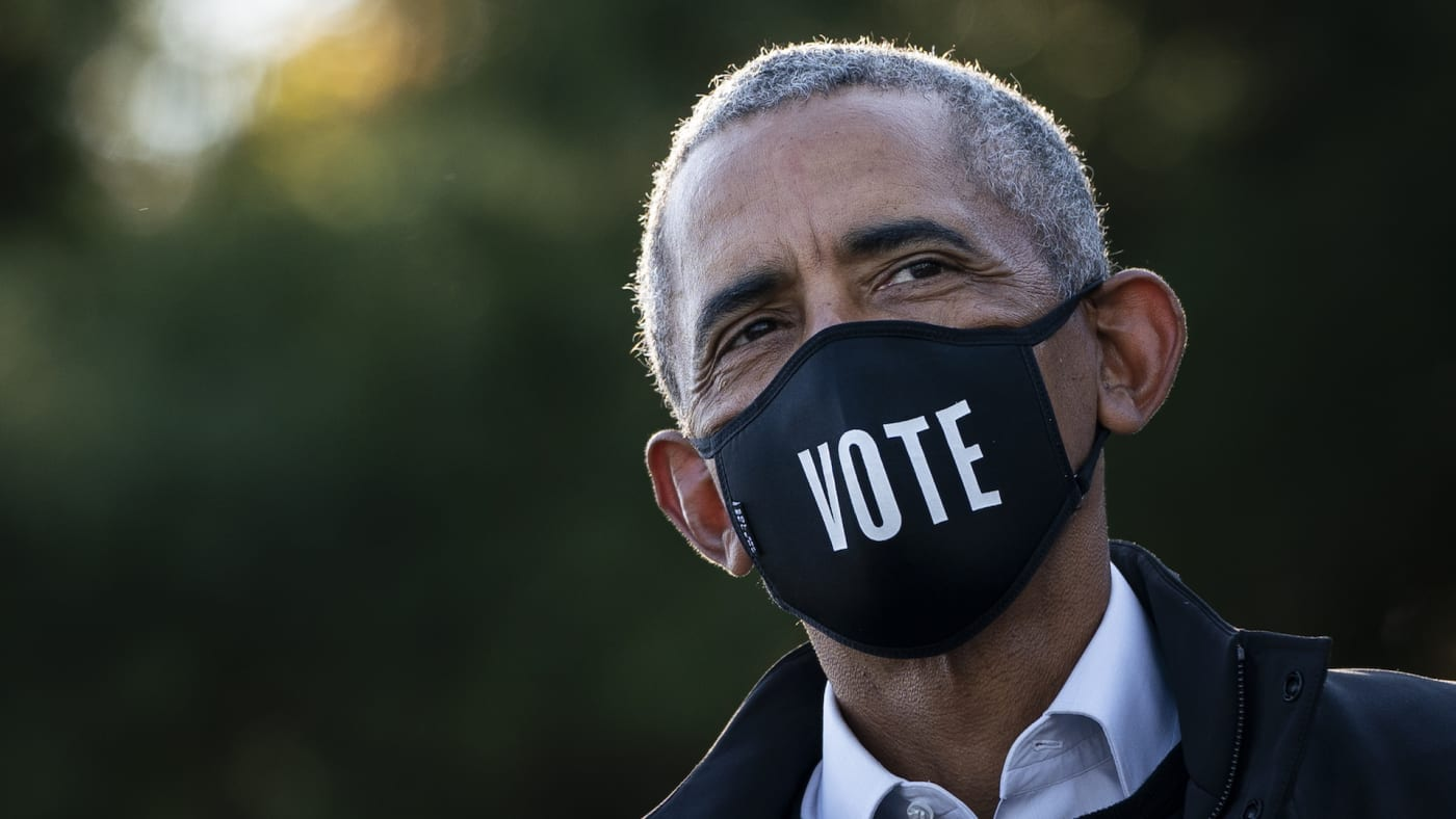 Barack Obama attends a canvass kickoff event for Democratic presidential nominee Joe Biden.