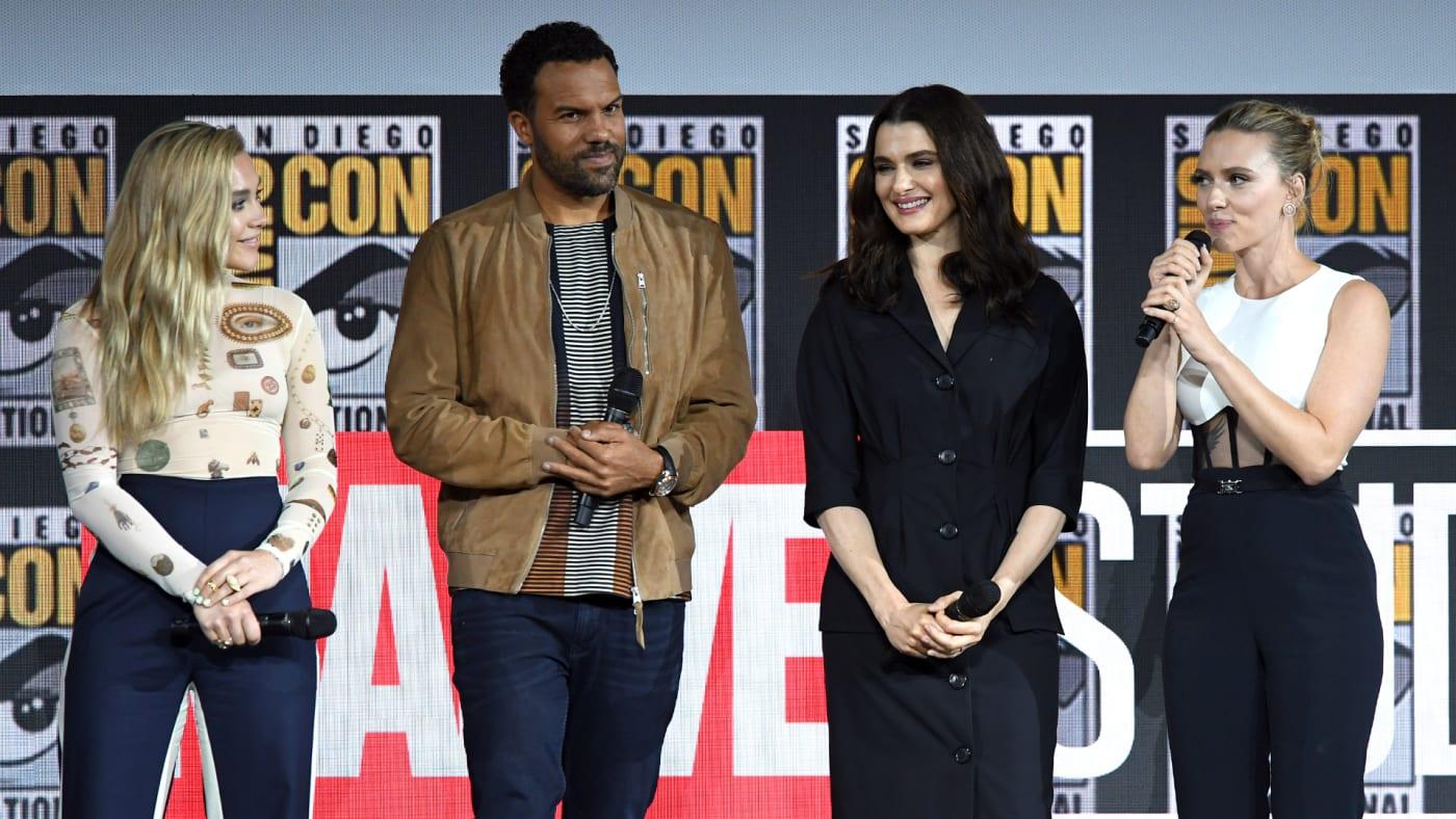 Florence Pugh, O. T. Fagbenle, Rachel Weisz and Scarlett Johanssonn speak at the Marvel Studios Panel.
