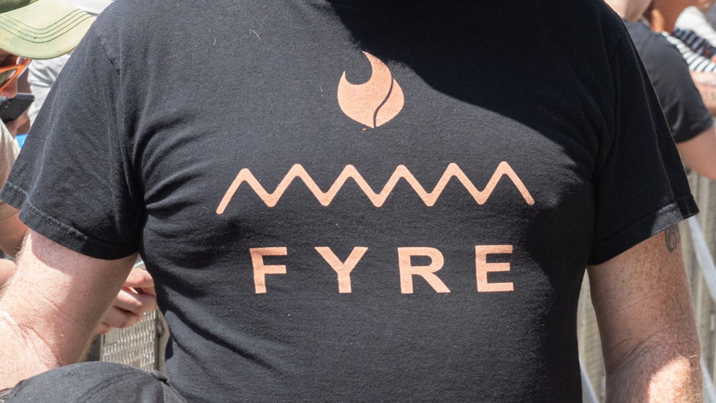 An attendee wears a Fyre shirt during BottleRock Napa Valley at Napa Valley Expo.