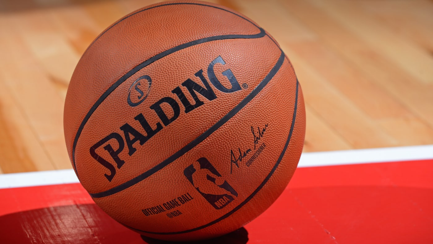 A close up shot of the official Adam Silver NBA Spaulding ball