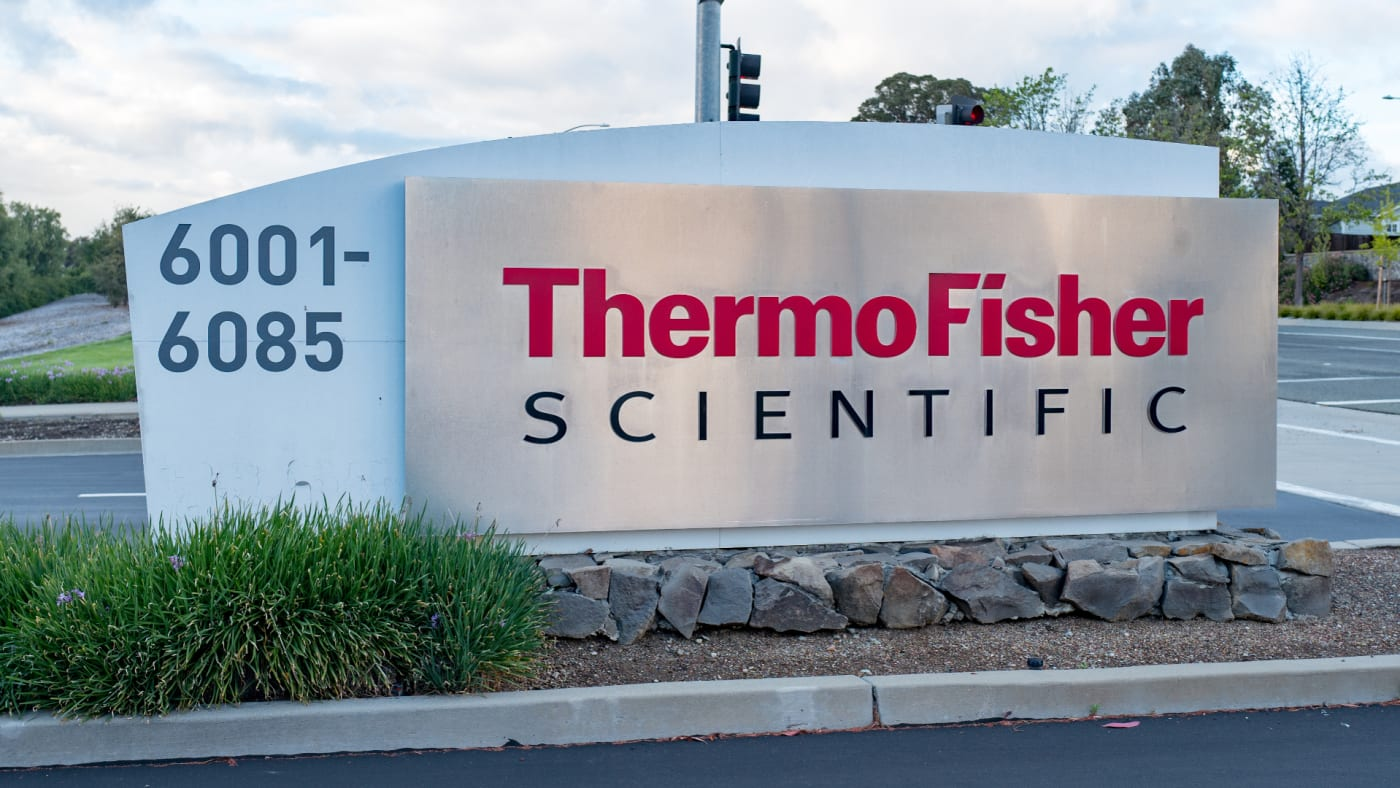 Sign and logo at the regional headquarters of biotechnology company Thermo Fisher Scientific.
