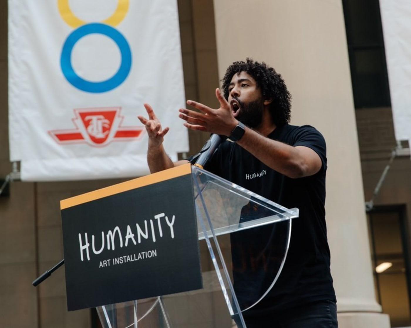 PenMoodz performs spoken word piece at Masai Ujiri's 'Humanity' unveiling
