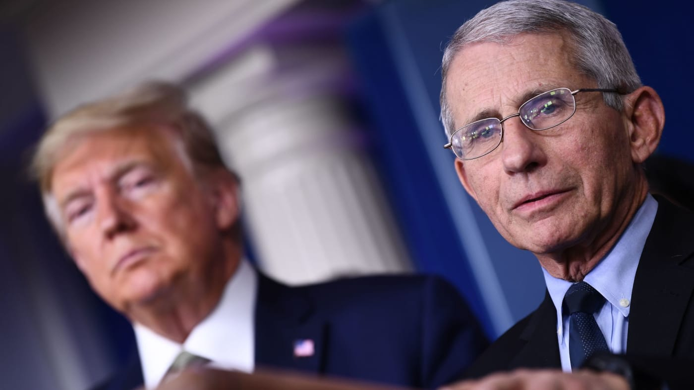 Dr. Anthony Fauci speaks as Trump listens during daily press Coronavirus briefing.
