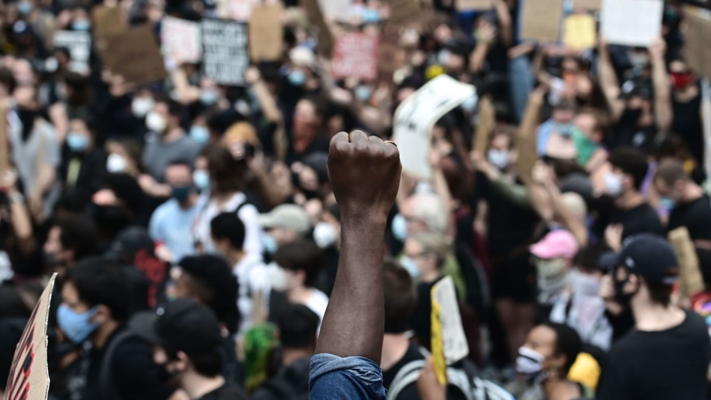 """Protesters demonstrate on June 2, 2020, during a """"Black Lives Matter"""""""