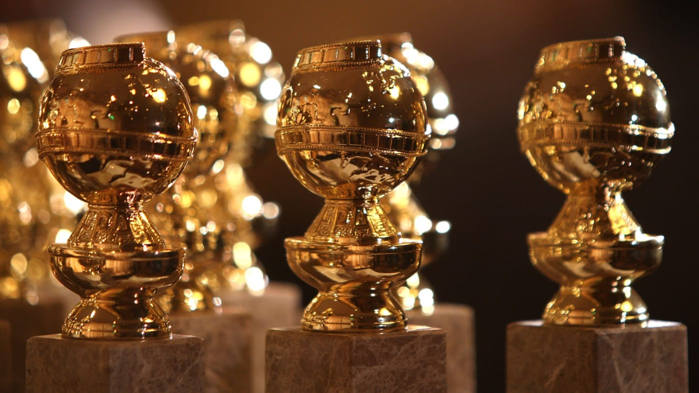 The new 2009 Golden Globe statuettes are on display.