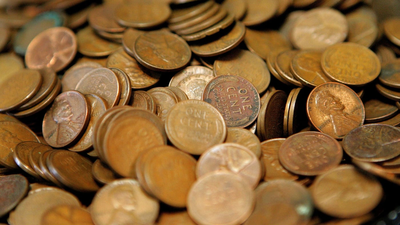 Pennies are displayed at Glenview Coin & Collectibles.