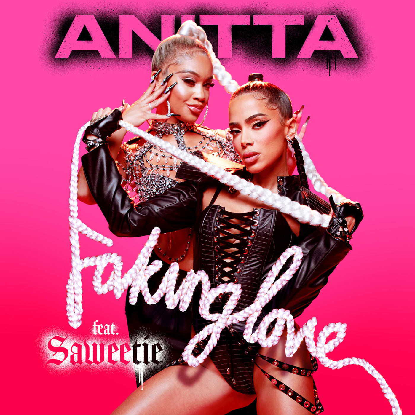 """The art work for Anitta and Saweetie's new song """"Faking Love"""""""
