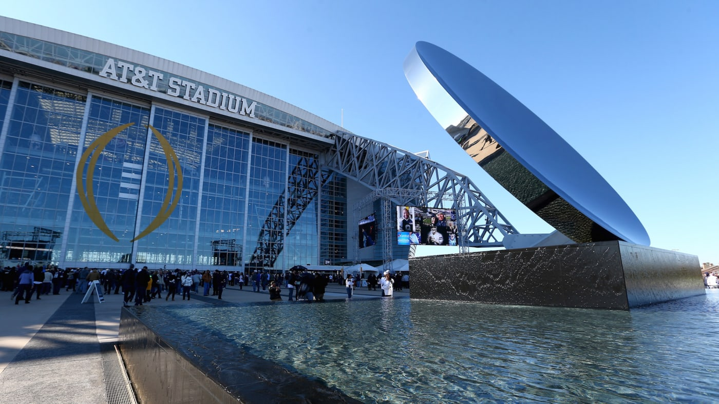 A general view of the exterior of AT&T Stadium