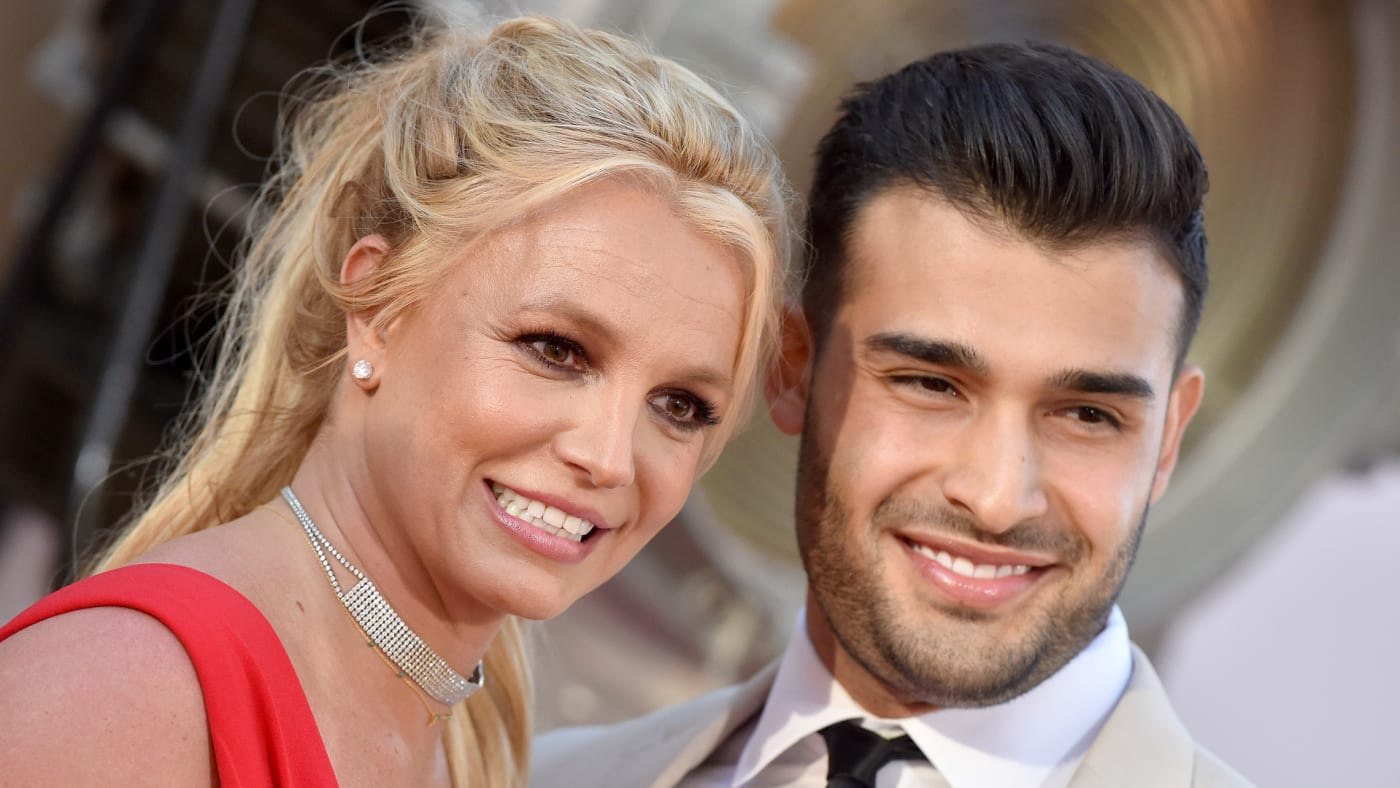 """Britney Spears and Sam Asghari attend Sony Pictures' """"Once Upon a Time ... in Hollywood"""" Los Angeles Premiere."""