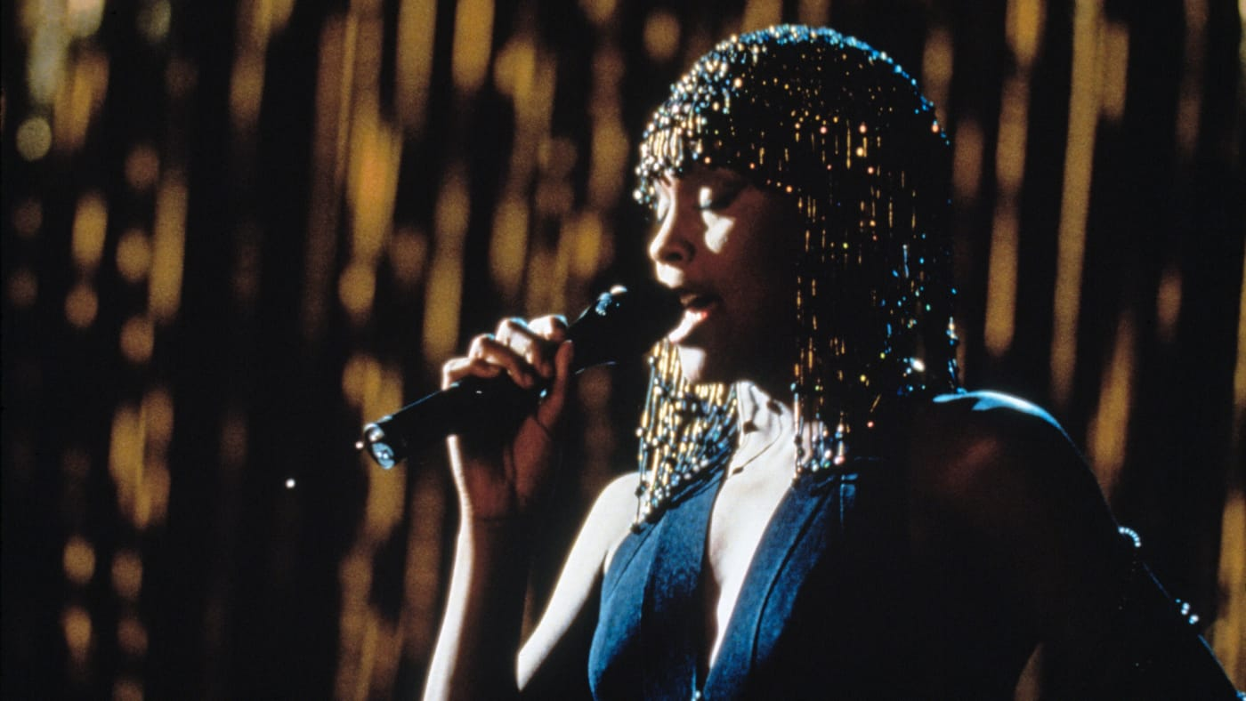 American singer and actress Whitney Houston (1963 - 2012) stars in the film 'The Bodyguard', 1992.