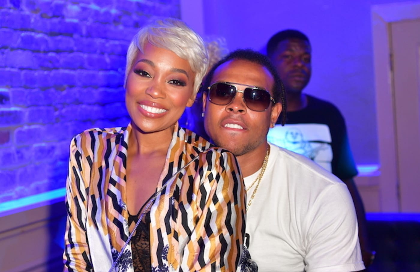 Singer Monica and Shannon Brown attend the 'Shades of Black weekend Climax' Party.