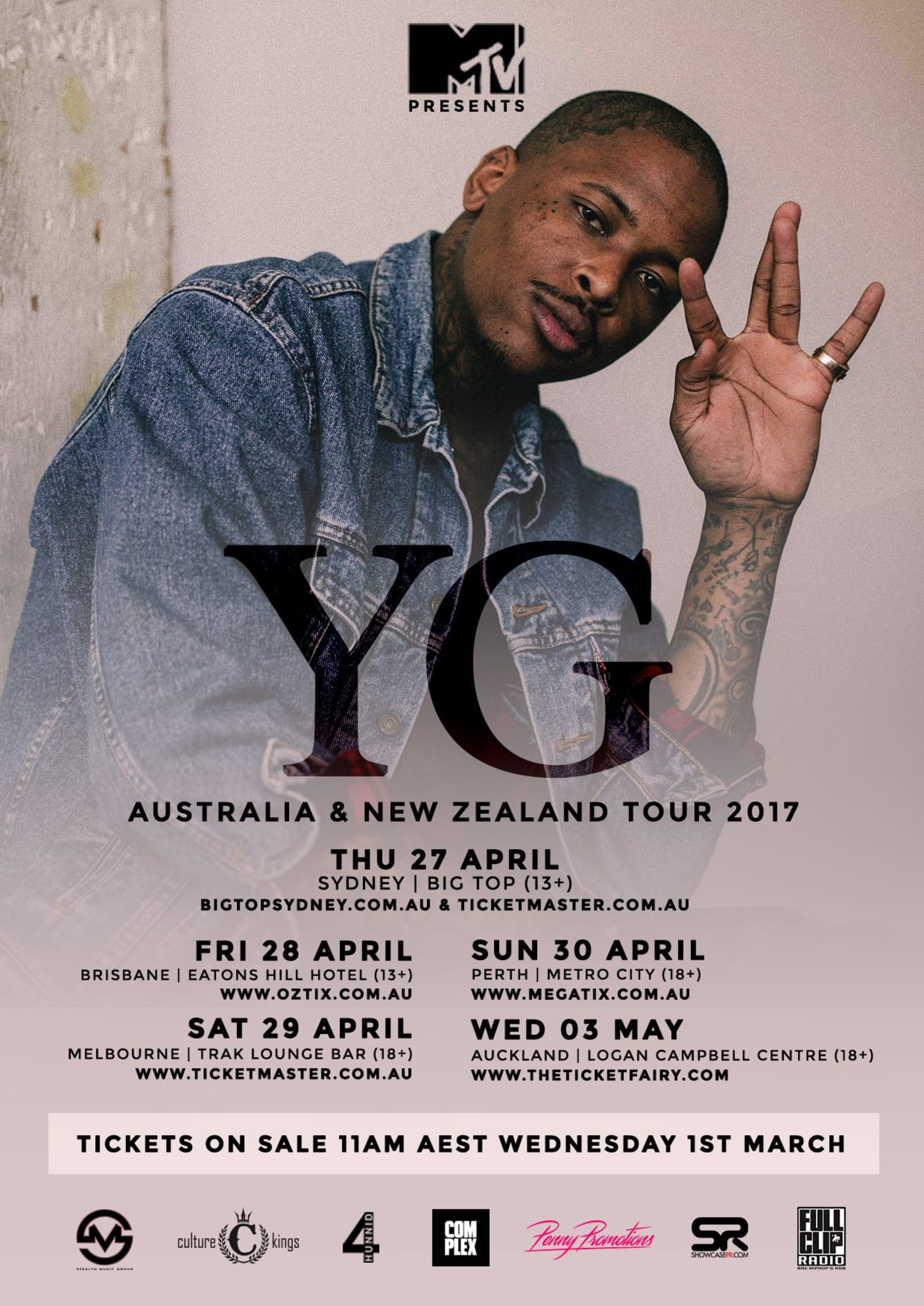 YG Australia & New Zealand tour dates 2017