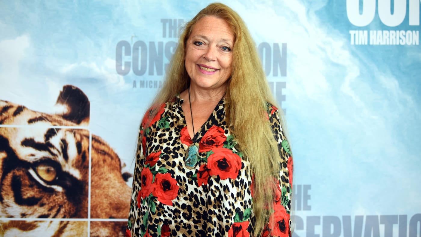 'Tiger King' star Carole Baskin poses on a red carpet.