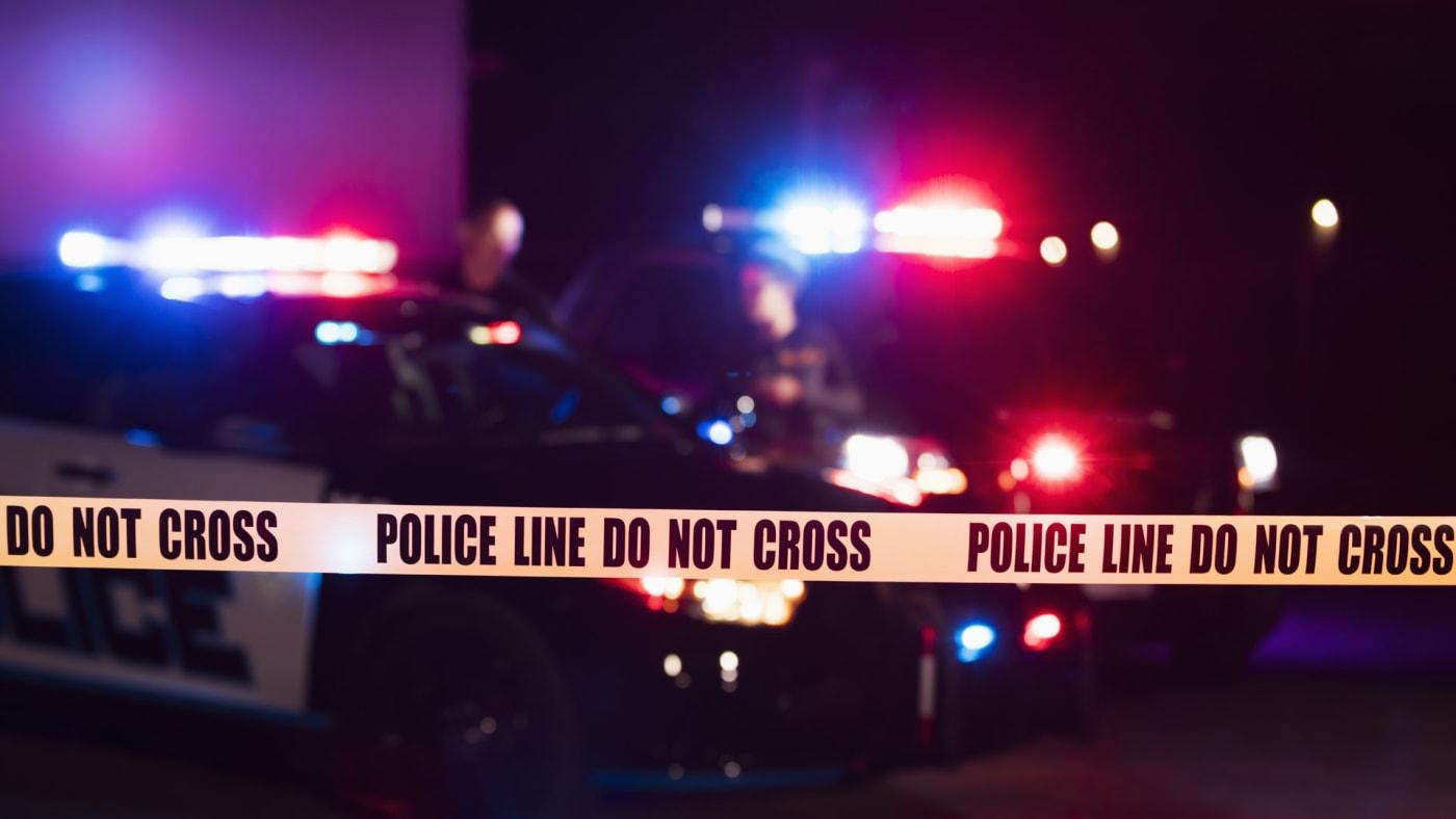 Crime scene at night