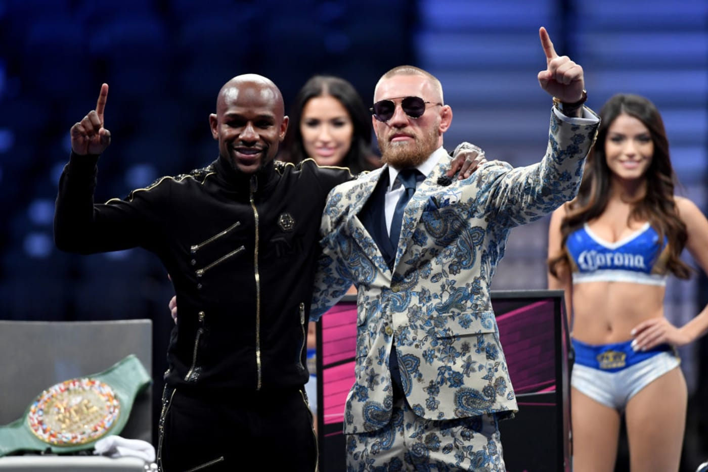 Floyd Conor Post Fight Press Conference 2017 Getty