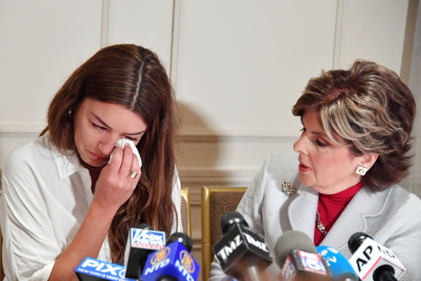 Mimi Haleyi shares story during press conference with Gloria Allred