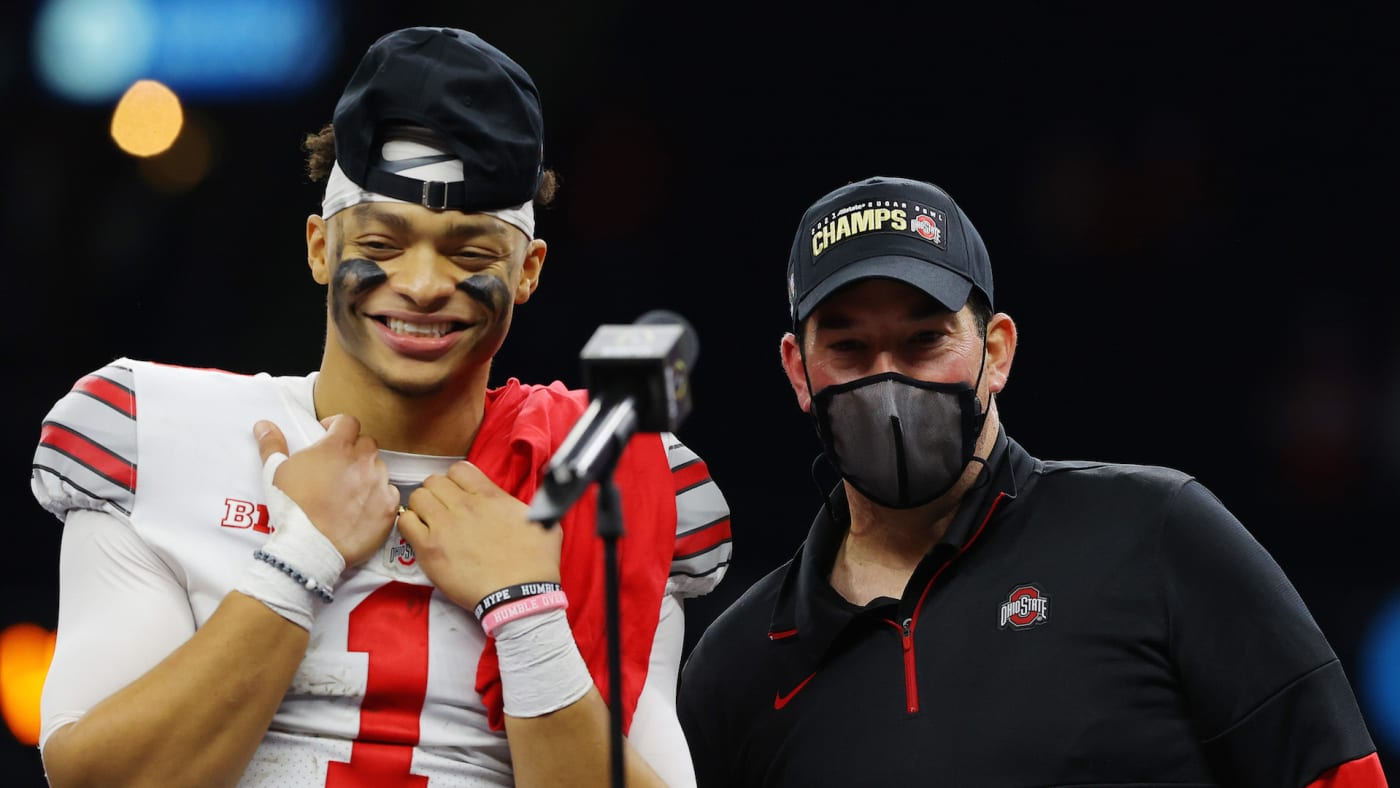 Justin Fields #1 and head coach Ryan Day