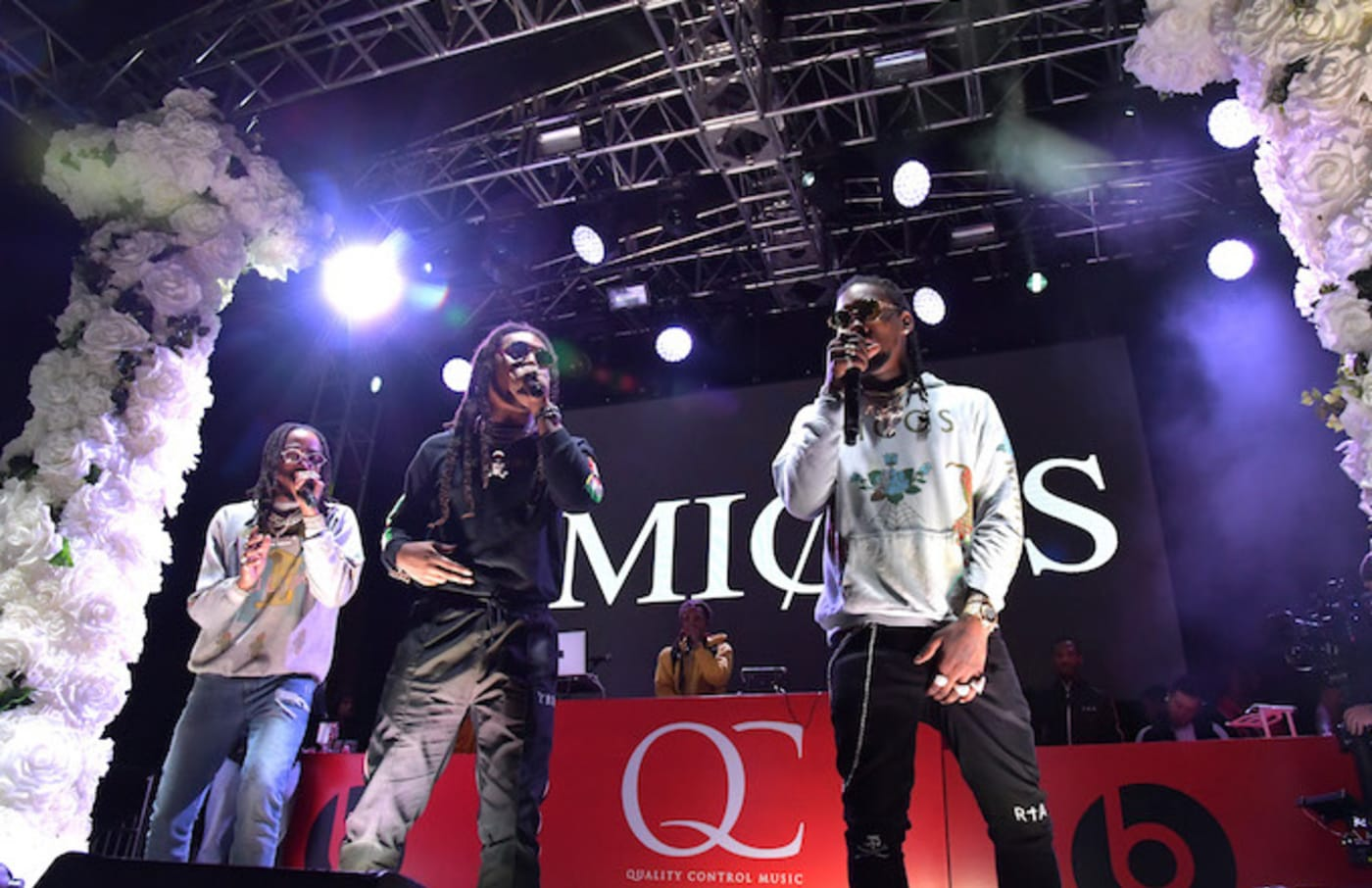 Recording artists Quavo, Takeoff, and Offset of music group Migos