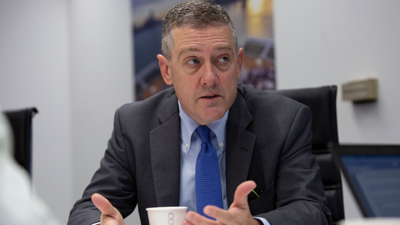 James Bullard speaks during an interview with AFP.