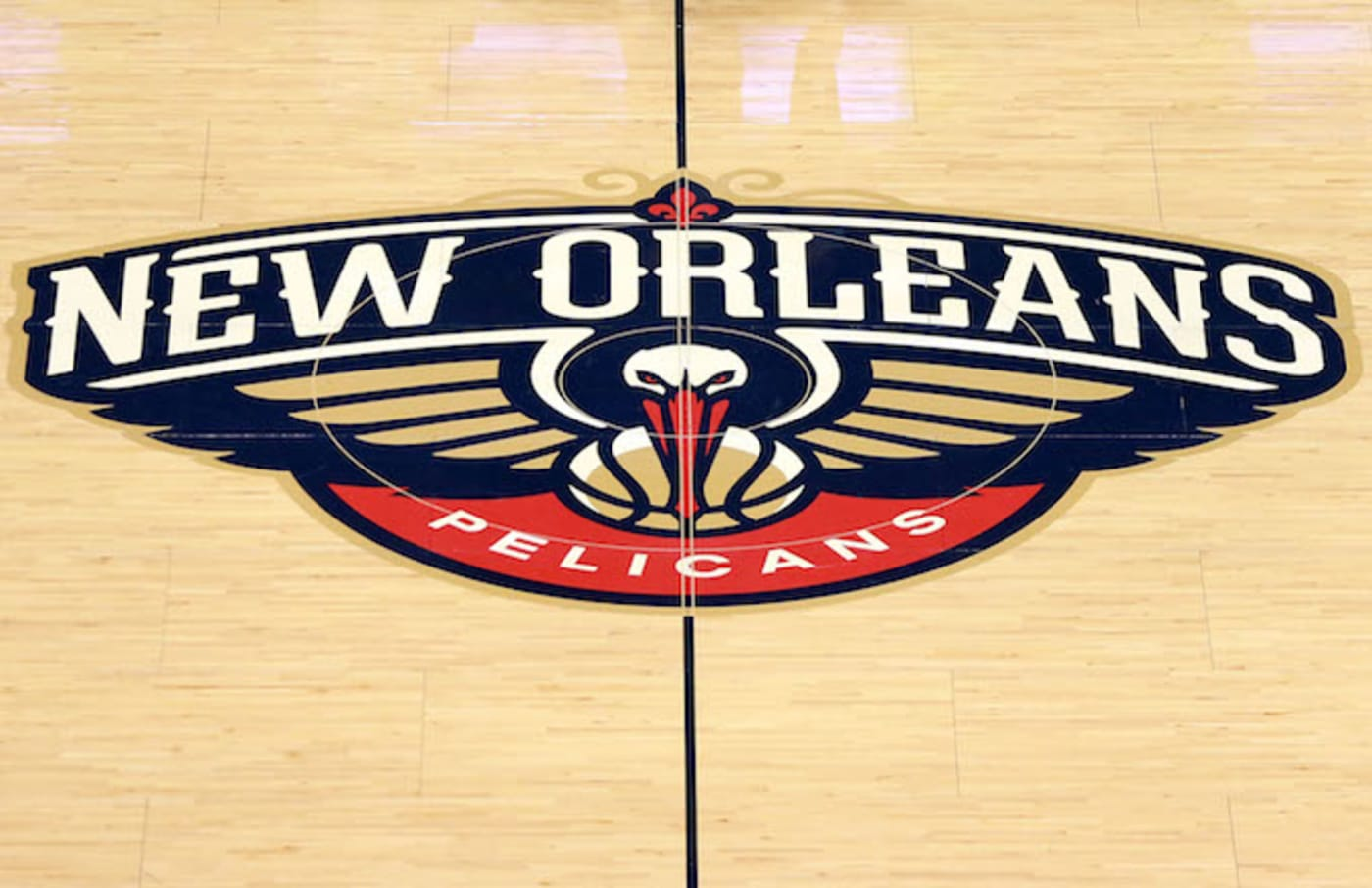 New Orleans Pelicans logo sits center court
