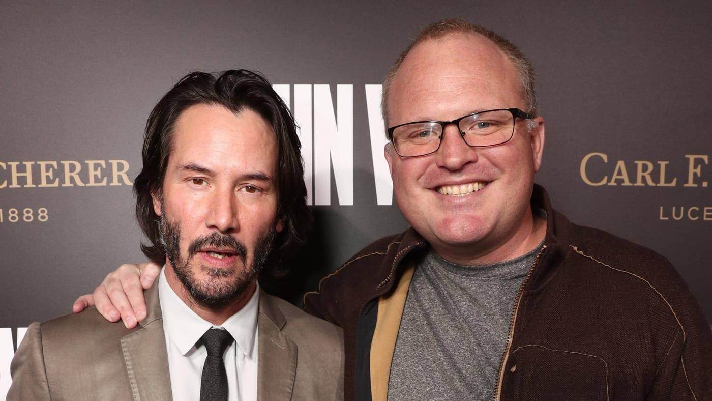 "Keanu Reeves and Derek Kolstad attend the Premiere Of ""John Wick: Chapter Two.'"
