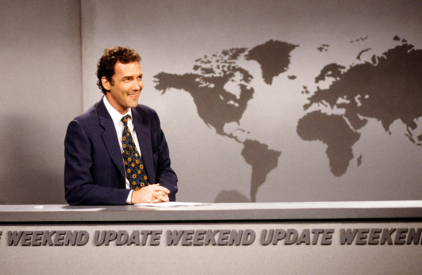 Norm MacDonald during the 'Weekend Update' skit on April 12, 1997