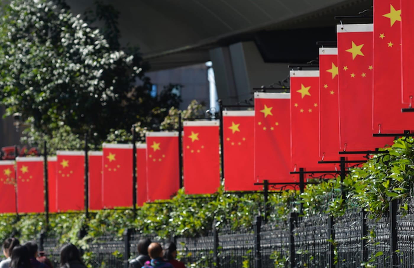 A view of China National Flags seen in Shanghai city center.