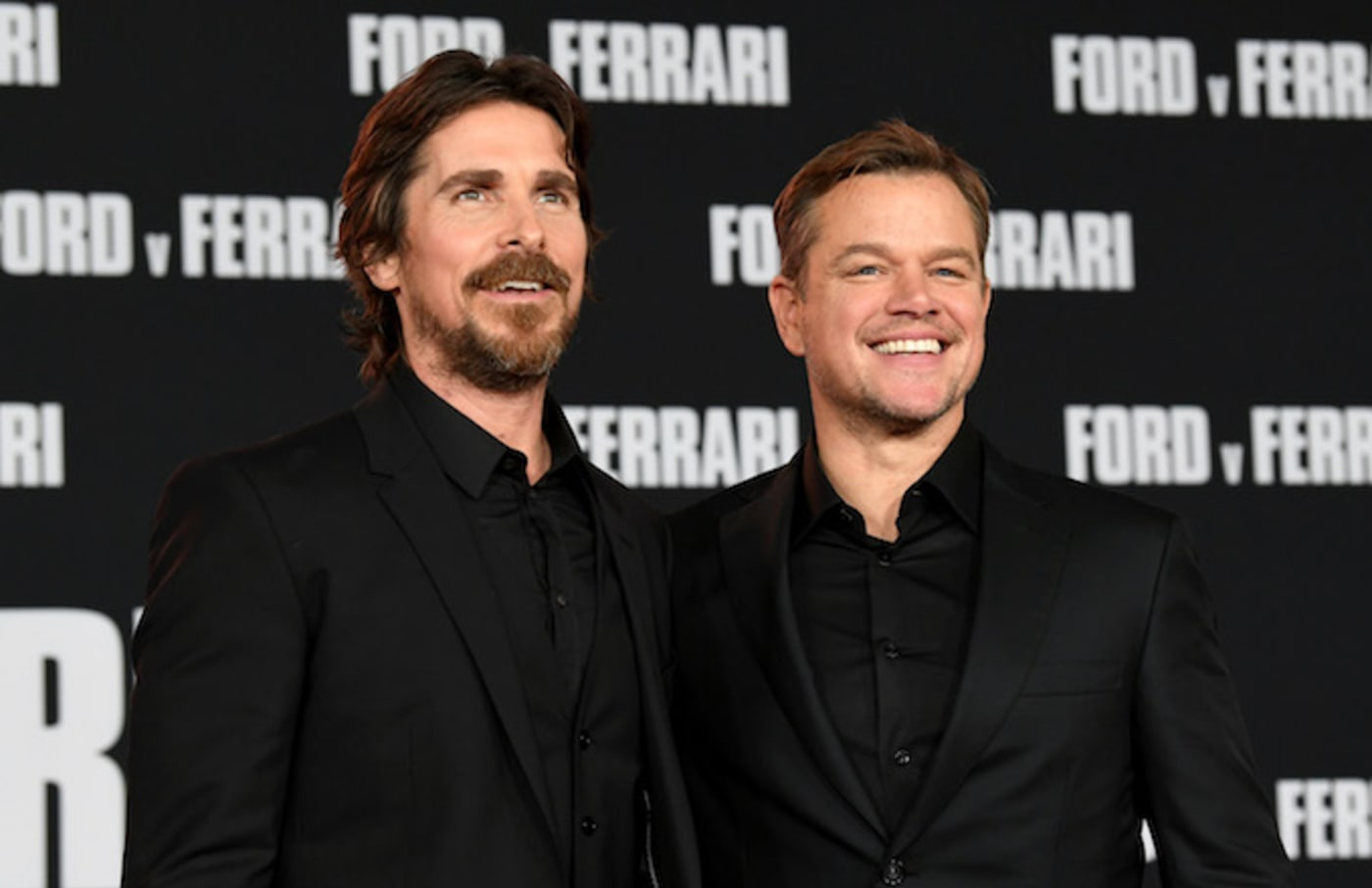 "Christian Bale and Matt Damon arrive at the premiere of Fox's ""Ford V Ferrari."""