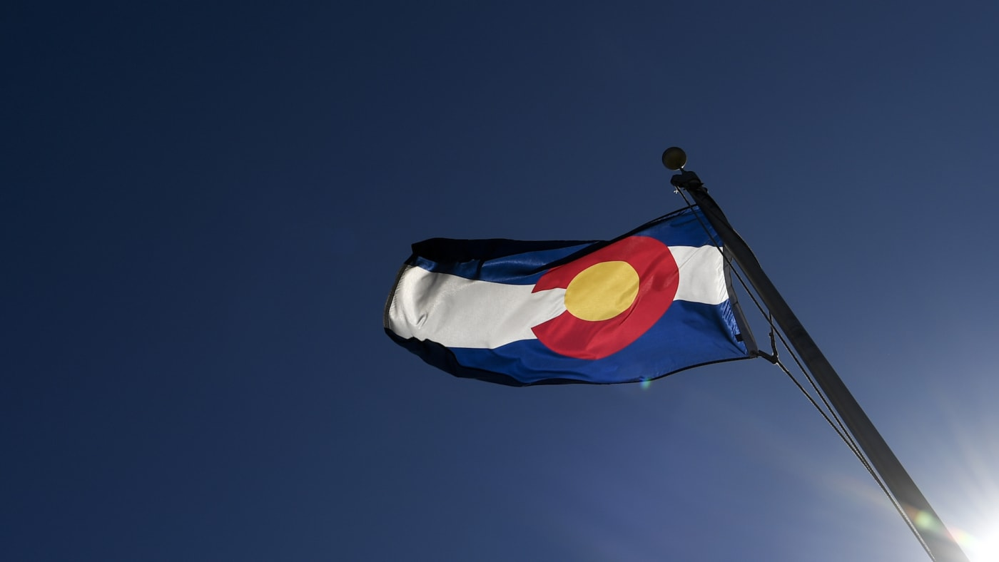 Colorado state flag blows