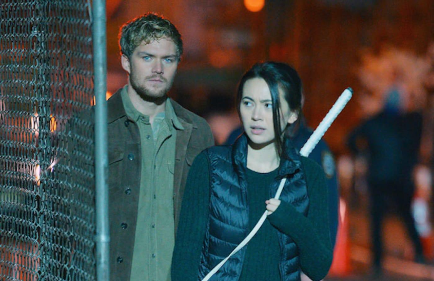 Jessica Henwick and Finn Jones on the set of 'Iron Fist'