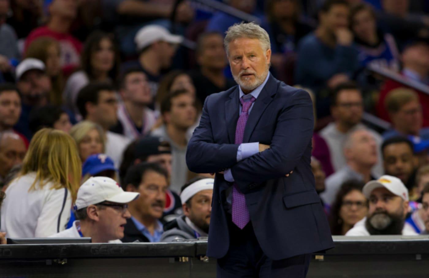 Head coach Brett Brown of the Philadelphia 76ers looks on