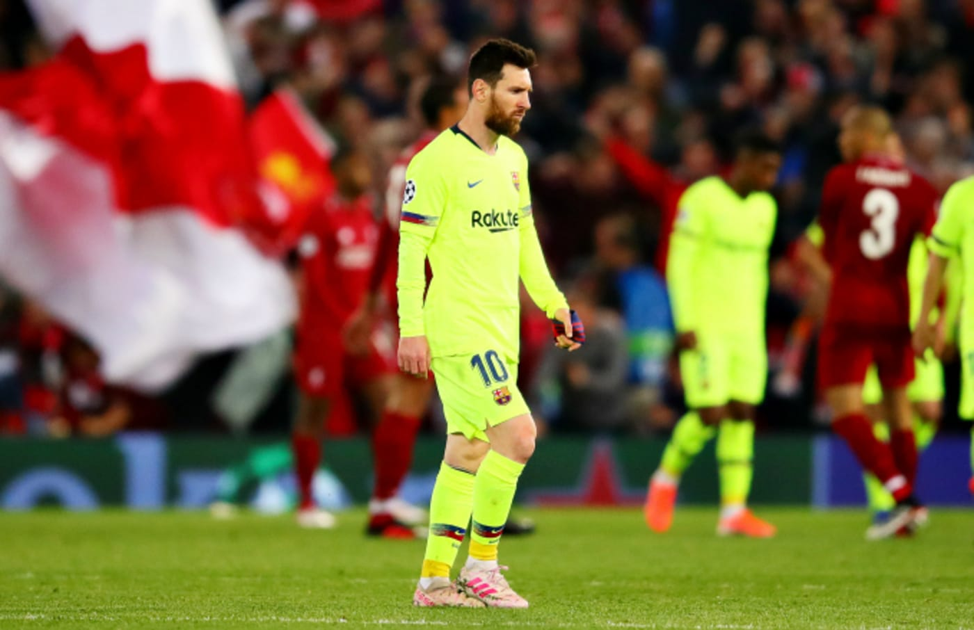 Lionel Messi looks dejected after the UEFA Champions League Semi Final