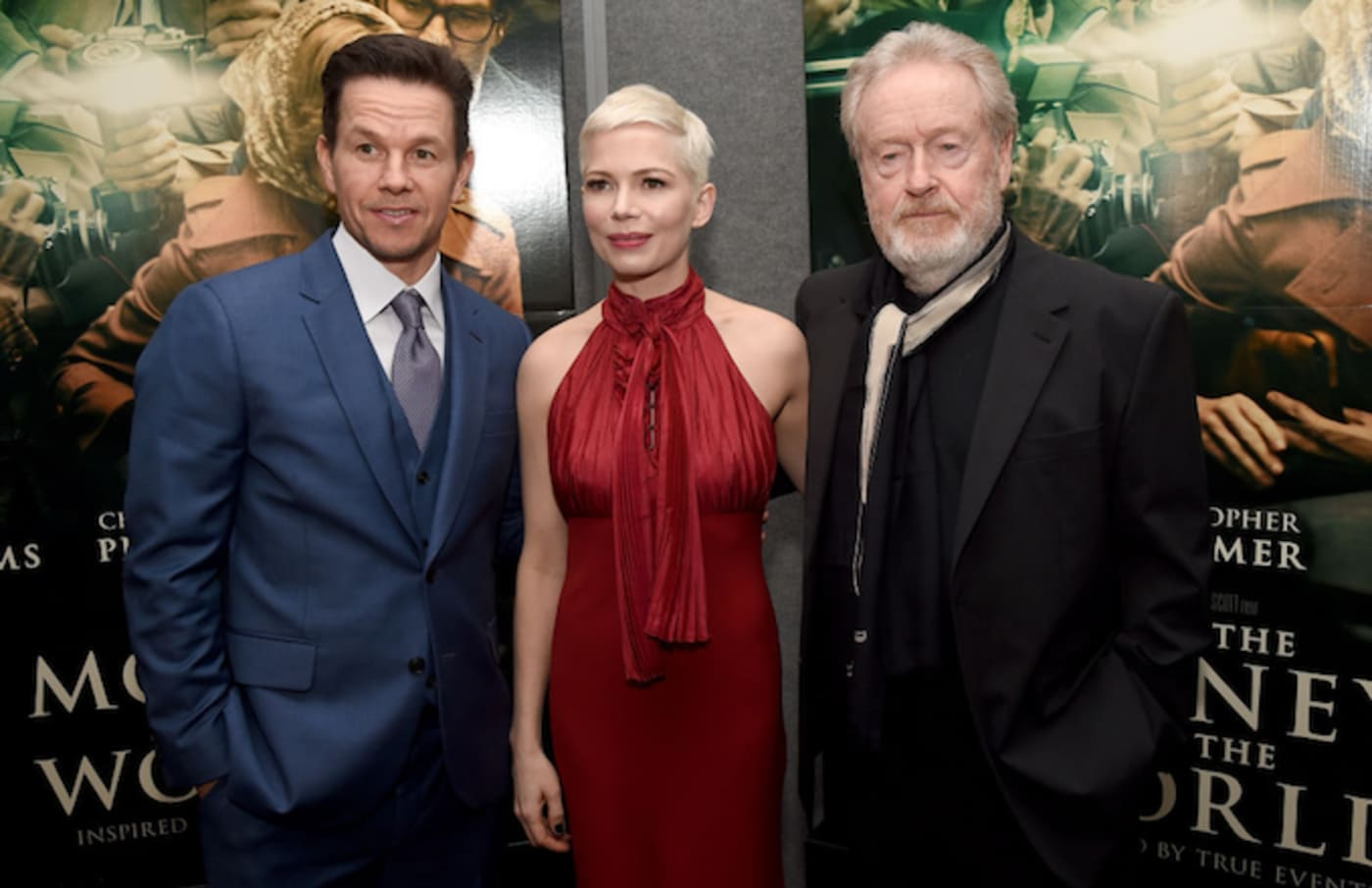 Mark Wahlberg, Michelle Williams, and Ridley Scott at the 'All The Money In The World' Premiere.