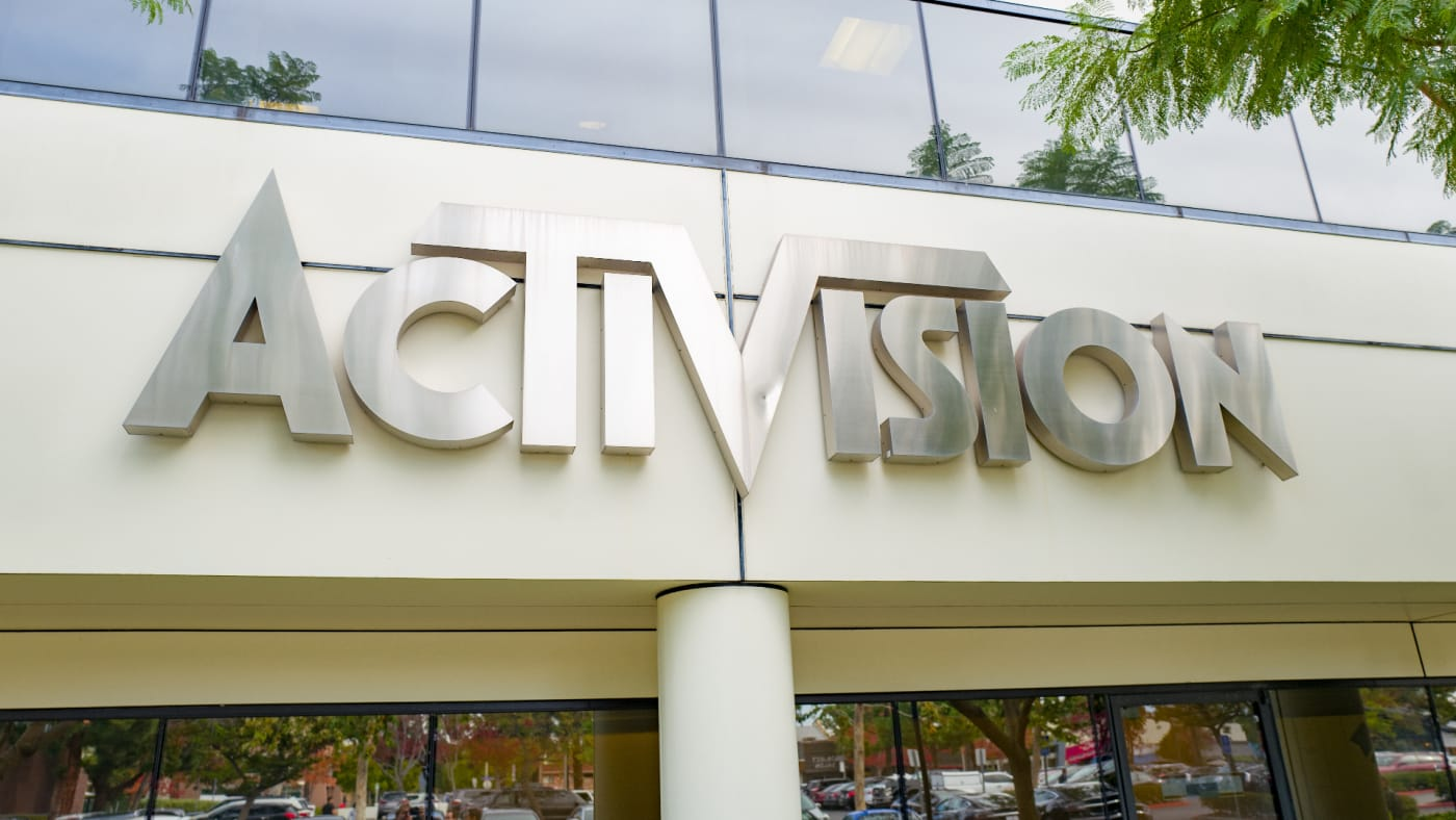 Sign on facade of office of videogame publisher Activision in the Silicon Beach area of Los Angeles, California.