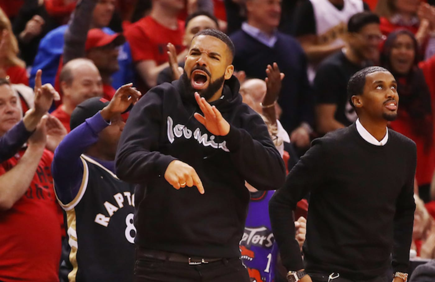 Drake reacts during game six of the NBA Eastern Conference Finals.