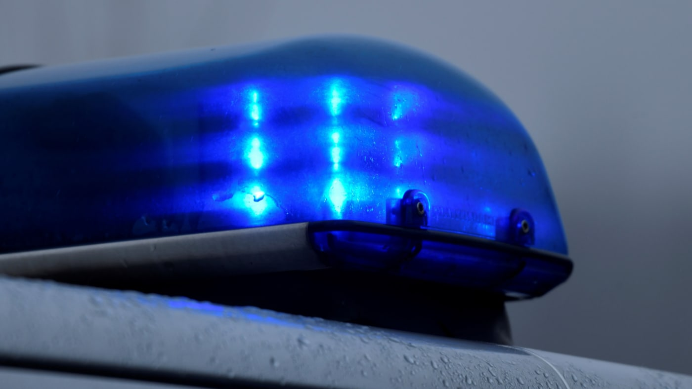 Flashing blue light of a police car in Datteln, western Germany.
