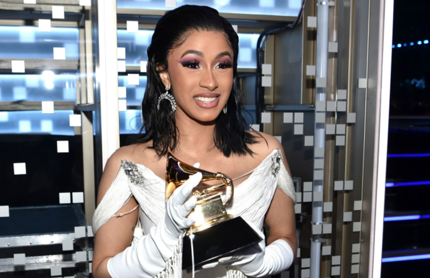 Cardi B backstage during the 61st Annual GRAMMY Awards at Staples Center