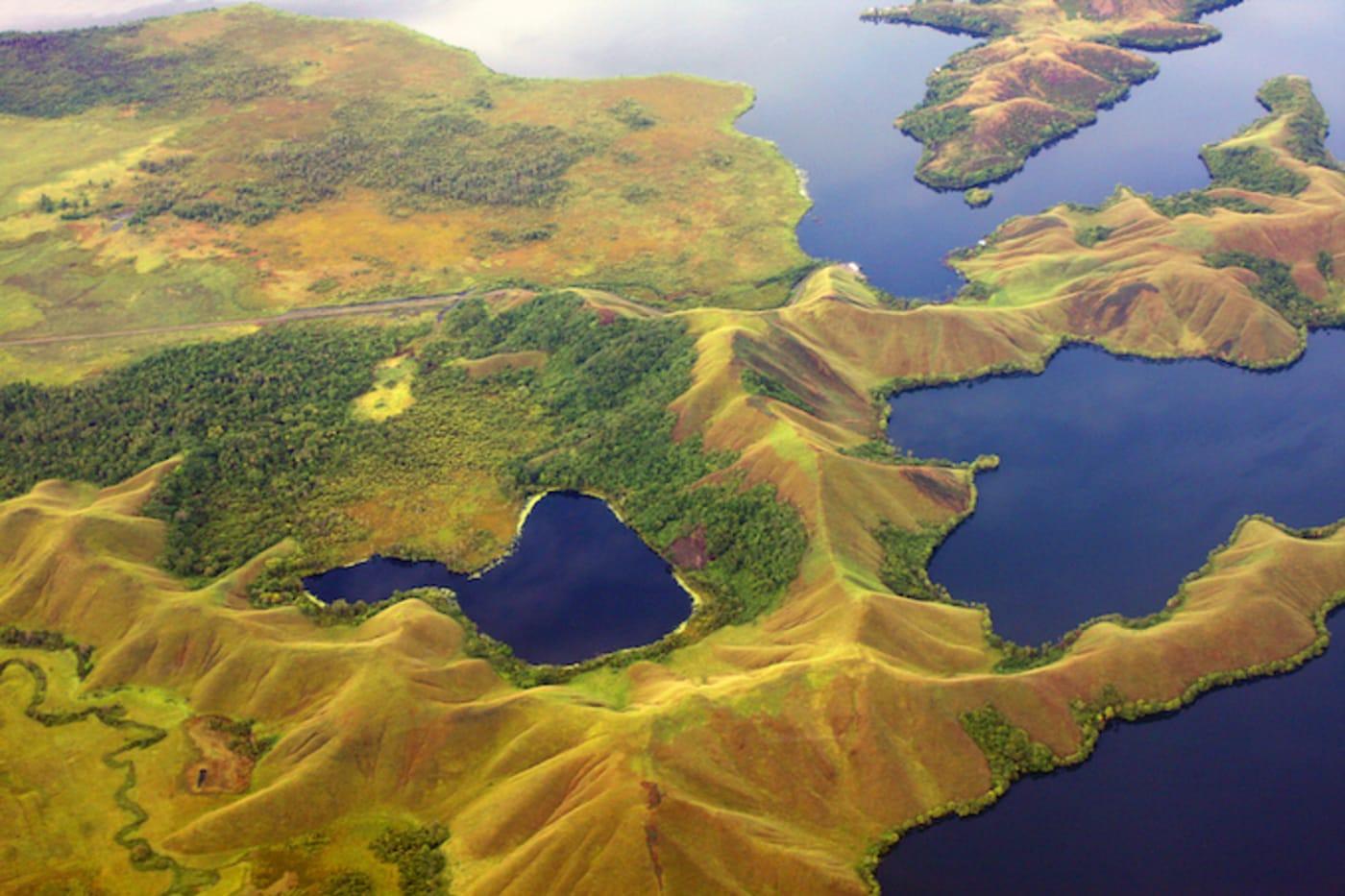 Aerial view of portion of Lake Sentani.